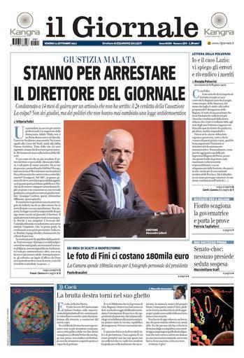 Prima pagina de Il Giornale su arresto di Sallusti