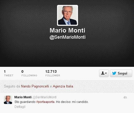 Il profilo su Twitter del falso Mario Monti