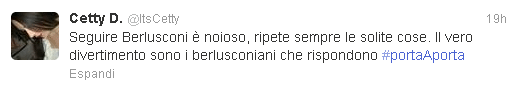 Il tweet di Cetty D.