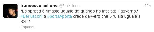 Il tweet di Francesco Milione