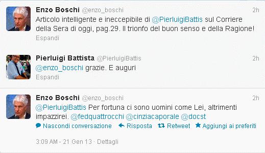 Lo scambio di messaggi fra Boschi e Battista su Twitter