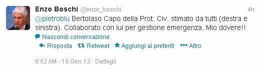 Attestato di stima di Boschi per Bertolaso su Twitter