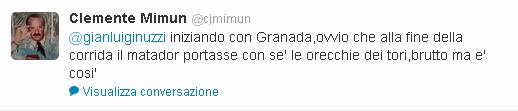 Il commento di Clemente Mimun su Twitter