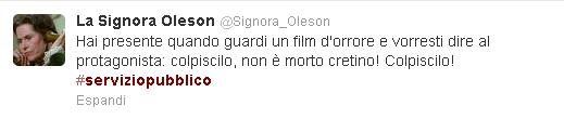 Il commento della Signora Oleson su Twitter