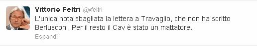Il commento di Vittorio Feltri su Twitter